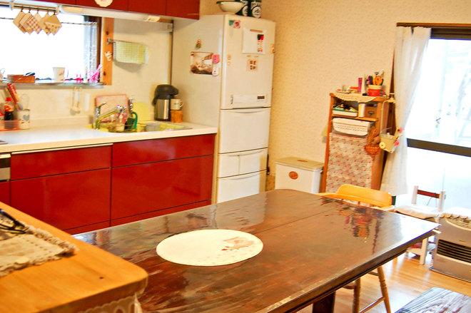 赤いキッチン