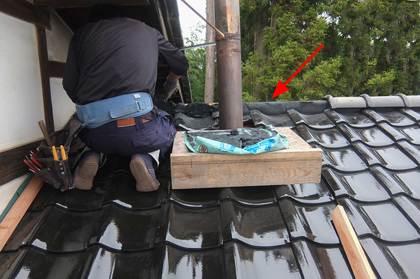 施工中:南蛮漆喰施工